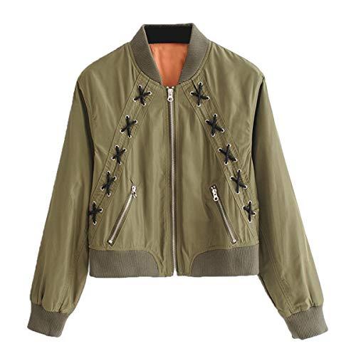 ZFFde Color manga de pie de chaqueta con Invierno Green collar frontal Ojo larga cremallera S encaje con bolsillo Sólido de tamaño rnzwrqxpT