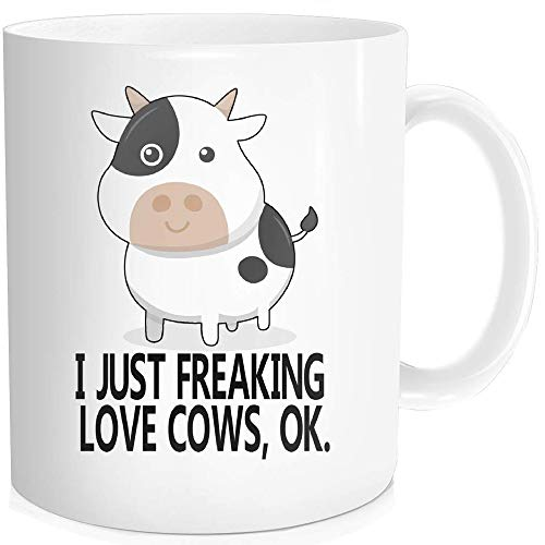 Waldeal 1 Piece, I Just Freaking Love Cows, OK Funny Coffee Mug, Mothers Day, Fathers Day, Christmas, Birthday Gift For Men Women Kids 11 OZ Ceramic White