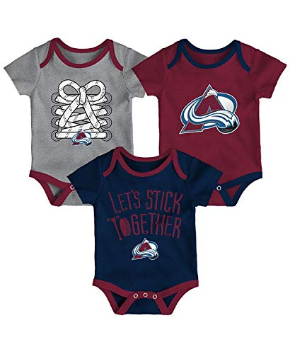 Outerstuff NHL Newborn Infants Five on Three 3 Piece Creeper Bodysuit Set (3/6 Months, Colorado Avalanche)
