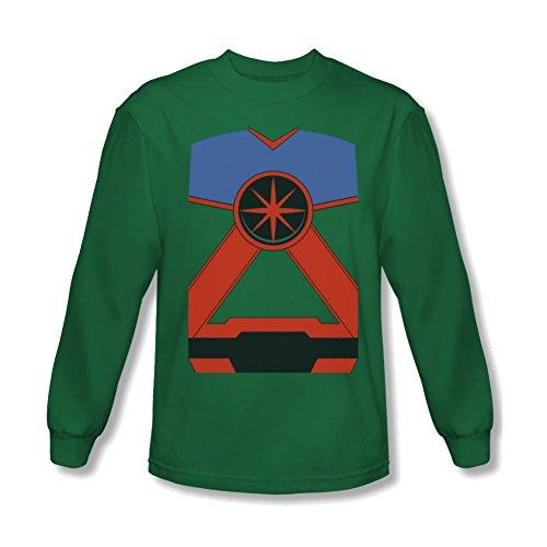 Martian Manhunter Costume Long Sleeve T-Shirt Large Kelly Green (Martian Manhunter Costume)