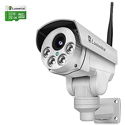 Luowice 1080P WiFi Security Camera Outdoor 2MP with PTZ 4X Zoom with Audio Night Vision and Built-in 32G Micro SD Card IP66 Waterproof IP Camera by Luowice