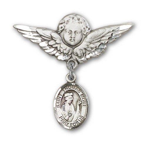 Icecarats Créatrice De Bijoux En Argent Sterling St. Thomas Plus De Charme Ange Broche De Badge 1 1/8 X 1 1/8