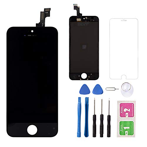 (for iPhone 5S/SE LCD Touch Screen Replacement Screen, LCD Display Digitizer Touch Screen and Frame, Repair Tool Kit and Tempered Glass (Black))