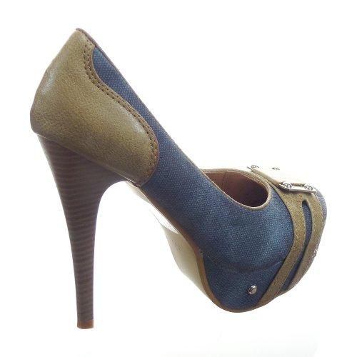 Kickly - Chaussure Mode Escarpin Plateforme Stiletto cheville femmes boucle Talon aiguille haut talon 12.5 CM - Bleu/Camel