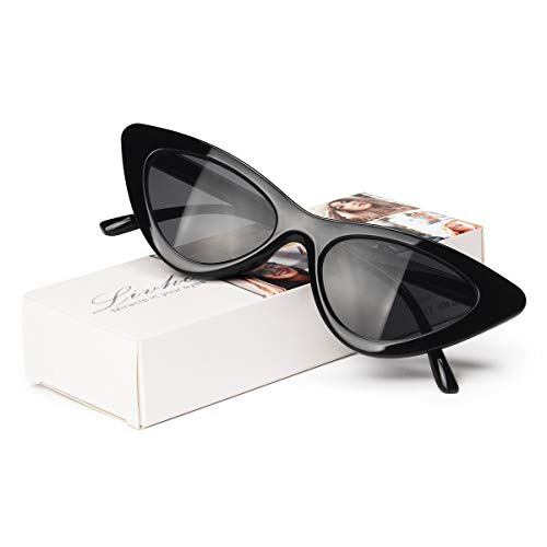 Livhò Retro Vintage Narrow Cat Eye Sunglasses for Women Clout Goggles Plastic Frame -