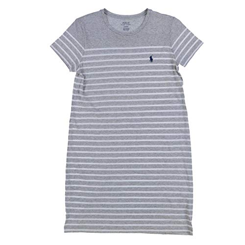 Polo Ralph Lauren Womens Crew Neck Jersey Dress (XS, Grey Stripes)