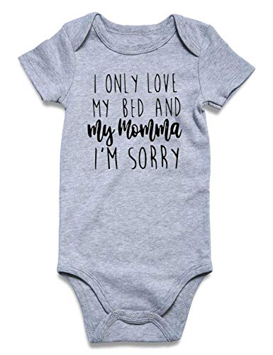 Baby Romper Pajamas Neutral Color Cotton Underwear Short Sleeve Bodysuits I only Love My Bed and My Momma Baby Announcement Onsie Button I'm Sorry Newborn Jumpsuit Toddler Boy and Girl Romper Gery