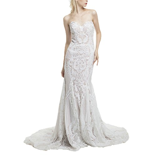 Shushaliying Women's 2017 Glamorous Lace Long Dress Strapless V-Neck Sheath Lace up Column Wedding Dress Ivory,18