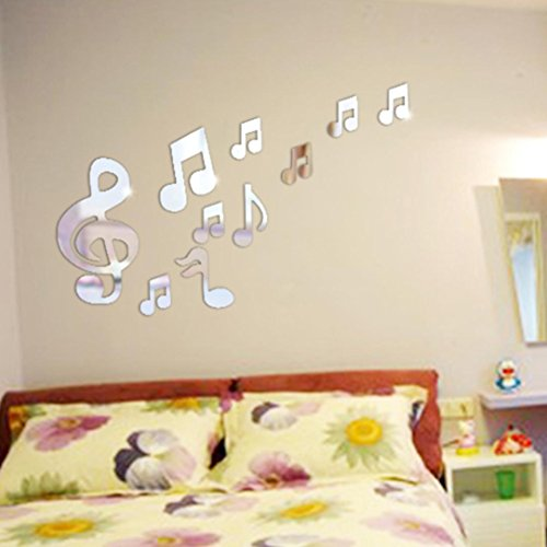Wall sticker, Hatop DIY Music Notation 3D Stickers Mirror Sticker Home Livingroom Decoration (Silver)