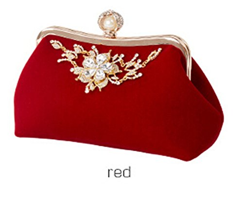Bag Red Crystal Design Party Bag Evening Velour Flower Wedding Clutch Bride Purse TPwxrTq