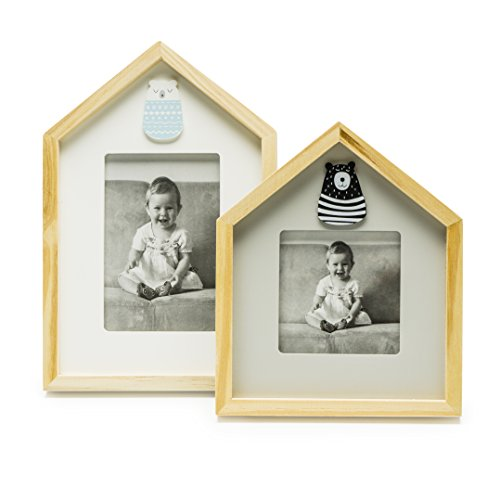 Modali Baby Fine & Elegant Photo Frame Set of 2 Wooden Frames Adorned with a Silver Plated Crown