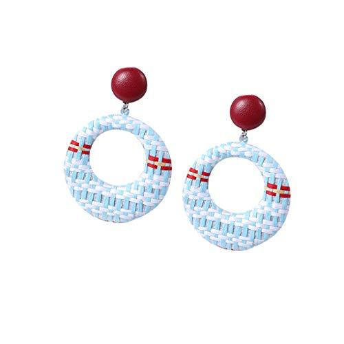 Best valentine's day gift!!!Kay Cowper Bohemian Style Wood Bamboo Rattan Geometric Round Earrings Ladies Jewelry ()