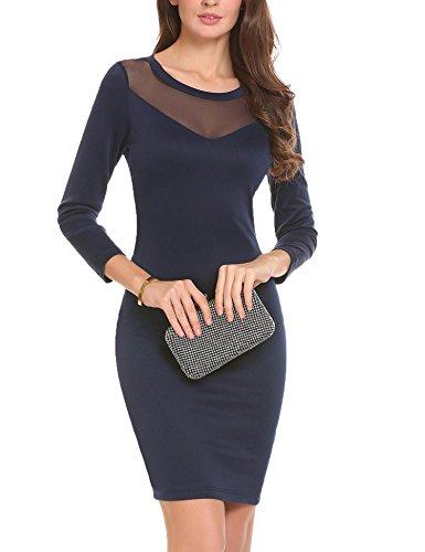 Azul Marino Mujeres Cuello O Manga Casual Vestido de Vestido Mujeres de Larga Meaneor 4aqwpPUZ