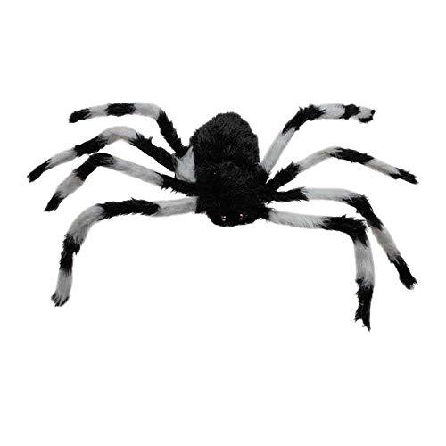 - Potelin 75cm Large Spider Plush Toy/Halloween Decor (Black and White)