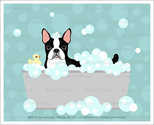 (579D - Boston Terrier Dog with Rubber Duck in Bubble Bath Gray Metal Bathtub UNFRAMED Wall Art Print by Lee ArtHaus)
