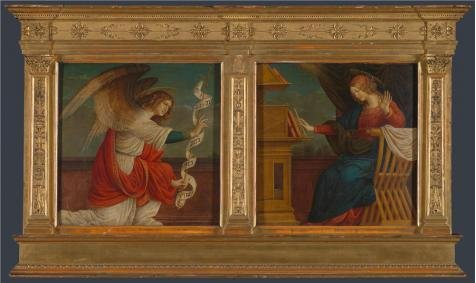Perfect Effect Canvas ,the High Resolution Art Decorative Prints On Canvas Of Oil Painting 'Gaudenzio Ferrari - Panels From An Altarpiece - The Annunciation,before 1511', 20x34 Inch / 51x85 Cm Is Best For Foyer Gallery Art And Home Decor And Gifts