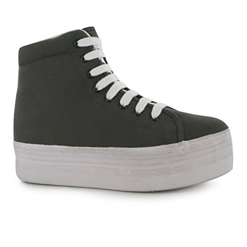 tela in e le donne per lavata Jeffrey Campbell Sneakers Play alta grigie On bianche Sneakers awRqXIC