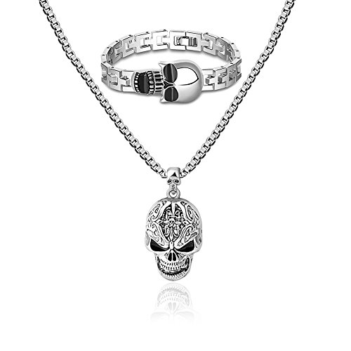 [Miraculous Garden Mens Silver Skull Pendant Necklace Vintage Hip Hop Jewelry Long Chain Bracelet] (Cool Costumes For Boys)