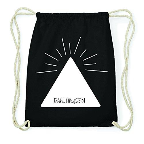 JOllify DAHLHAUSEN Hipster Turnbeutel Tasche Rucksack aus Baumwolle - Farbe: schwarz Design: Pyramide