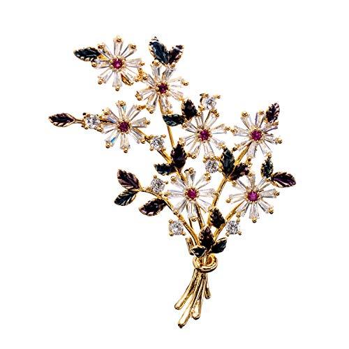 SEPBRIDALS Cubic Zirconia Enamel Wheat Flower Brooch Pin Broach Pendant for Women A01919 (Purple-Gold)