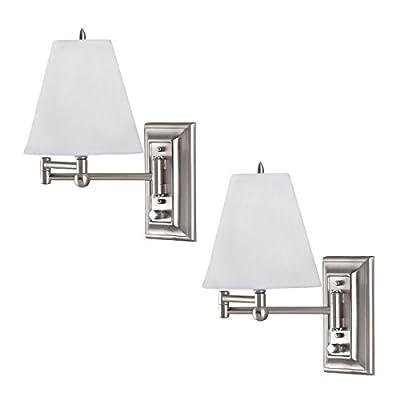 Wall Mount Swing Arm Reading Bedside Lamp Bedroom Light - 2 Pack