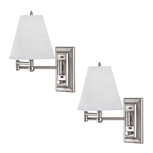 2 Pack Brushed Nickel Wall Mount Swing Arm Reading Bedside Lamp Bedroom Light ()