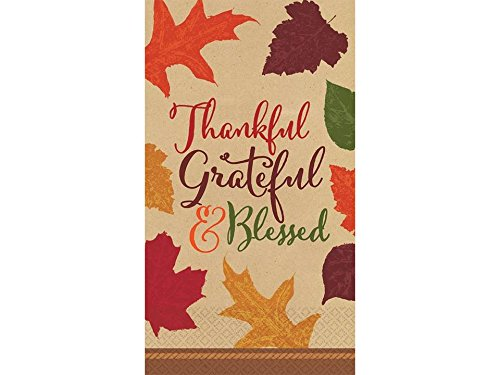Autumn Traditions Thanksgiving Napkins- Thankful, Grateful & Blessed - 36 Count