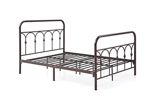 Hodedah Complete Metal Bed with Headboard, High Footboard, Slats and Rails, Queen Size, Bronze Bronze Queen Size Footboard