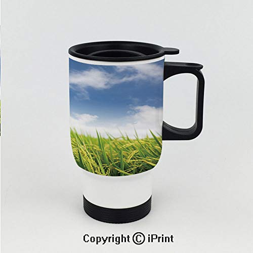 Splash-Proof Keeps Hot or Cold Thermos Cup,Asian Cultivated Farm Paddy Rice Field Agriculture Food Eastern Countryside Decorative,Double Wall Stainless Steel Vacuum ()
