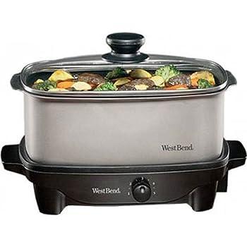 West Bend 84905 Oblong Versatility Slow Cooker, 5-Quart, Silver