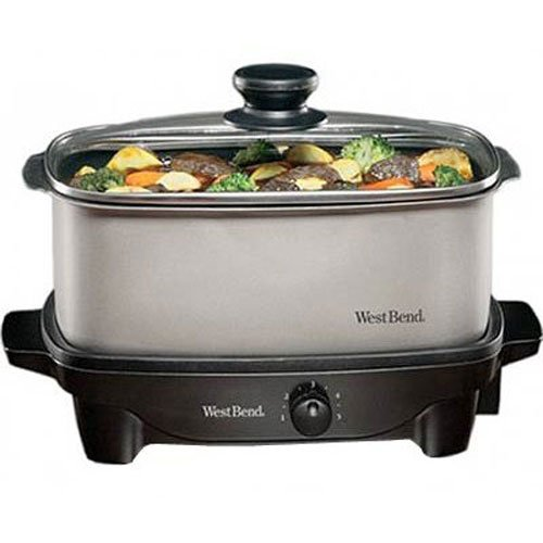 West Bend 84905 Oblong Versatility Slow Cooker, 5-Quart, Silver
