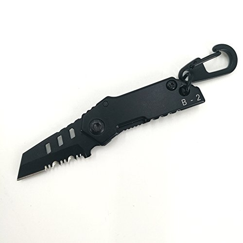 Mini Pocket Knife Folding Outdoor Survival Tool Serrated Blade Stainless Steel With Keychain