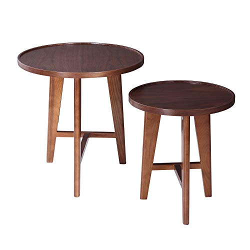 Cypressshop Nesting Table Coffee Table Side End Table Couch Desk Modern Walnut Color with Oak Legs Living Room Bedroom Home Furniture Set of 2 Pieces