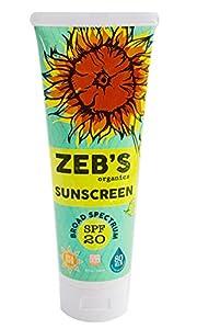 Zebs Organics Sunscreen 8oz, Natural & Organic, SPF 20