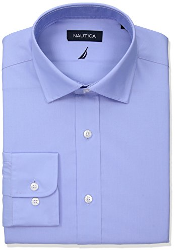 Nautica Men's Classic Fit Performance Poplin Spread Collar Dress Shirt, Light Blue, 17.5