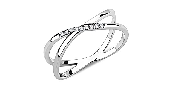 Delicate-Dainty  /& Pave Set CZ Stainless Steel Women Ring Size  5-9