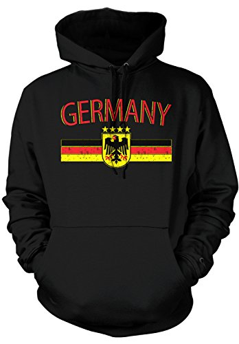 Amdesco Men's Germany Flag And Eagle Crest, German Flag Hooded Sweatshirt, Black (Blank Flag Sweatshirt)