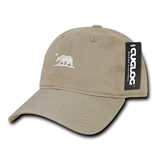 Khaki California Bear Dad Hat Baseball Polo Style Unconstructed Embroidered Relaxed Adjustable Cap