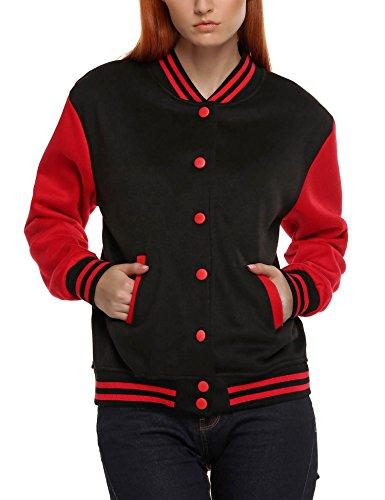 Meaneor Women's Long Sleeves Baseball Racer Jacket Coat Red Black M (Baseball Jacket Black)