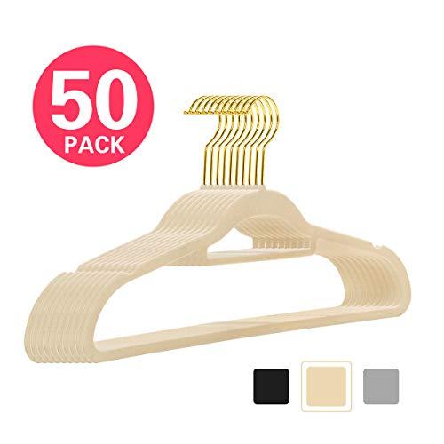 MIZGI Premium Velvet Hangers - 50 Pack - Ivory - Gold Hooks - Non-Slip Suit Hangers Bonus Accessory Bar- Great Coats, Pants, Dresses (Ivory)