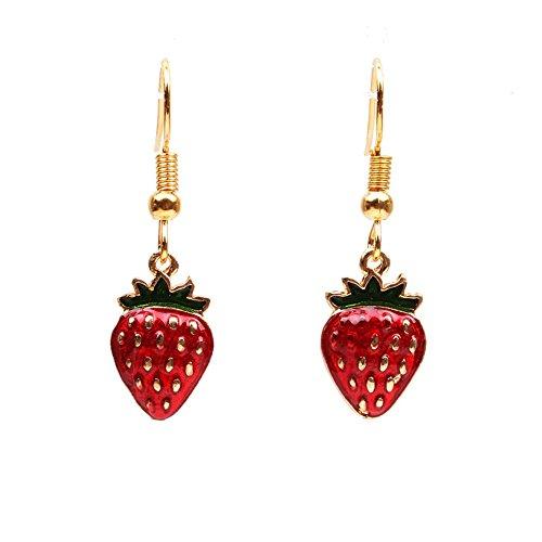 - Goldtone Red Strawberry Fruit Earrings - Yellow Gold Enameled Puffed Strawberry Earrings (HOOK)