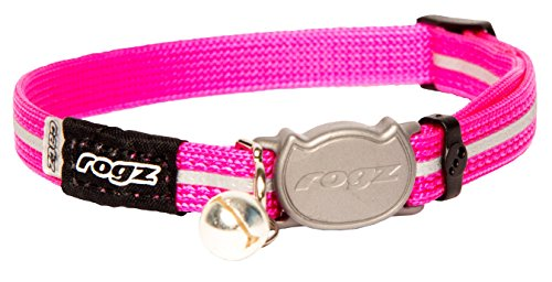 Rogz Reflective Nylon Cat Collar with Breakaway Clip and Removable Bell, fully adjustable to fit most breeds, Pink