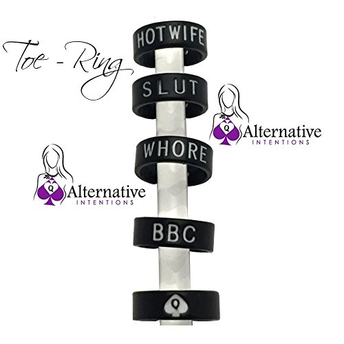 Alternative Intentions Black Toe Ring Slut, Whore, BBC, Hotwife or Queen of Spades, Swinger Jewelry Lifestyle