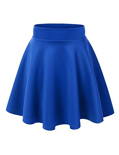 (MBJ WB669 Womens Basic Versatile Strechy Flare Skater Skirt M)