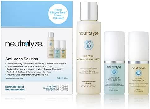 Neutralyze Moderate to Severe Acne Treatment Kit - Maximum Strength Anti Acne Medication, Face Wash (3.3 Ounce), Clearing Serum (1 Ounce) & Synergyzer (1 Ounce)