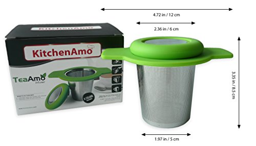 Tea Infuser Tea Strainer Stainless Steel Metal Mesh Large In Mug Single One Cup With Lid Double Extra Long Handles Loose Leaf Tea Filter (Large, Green)