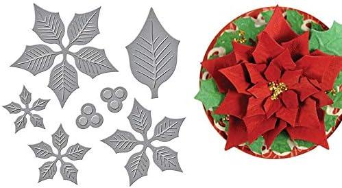 Christmas Greetings Poinsettia Flower Metal Cutting Dies Embossing Scrapbooking