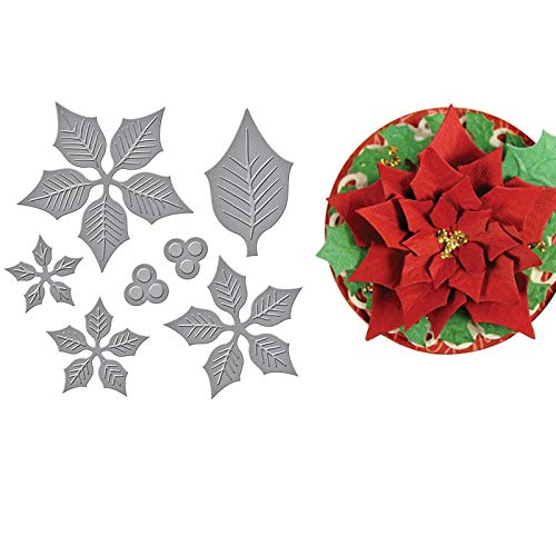 Best Quality - Cutting Dies - Layered Poinsettia Etched Dies cuts Metal Cutting Dies Scrapbooking Crafting Paper Art Emboss Stencil 12x10.6CM - by BLUESKYUP - 1 PCs