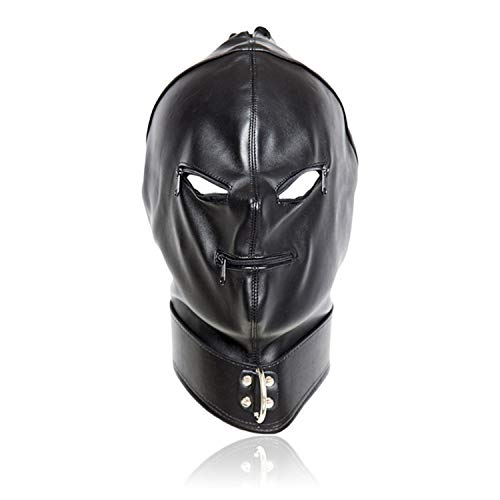 2017 Pu Leather face covery Mask,Hood With Open Eyes & Mouth Zipper Cosplay Mask,Human Game Toys For Couple ()