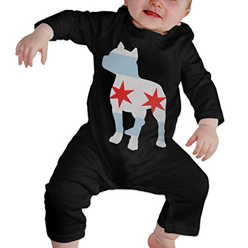 UGFGF-S3 Patriotic Pitbull Chicago Flag Baby Boy Long Sleeve Bodysuit Coverall Onsies Black - Bulldog Patriotic Pit